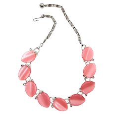 Vintage Lisner Pink Thermoset Choker Necklace
