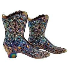 Fenton Carnival Glass Boots