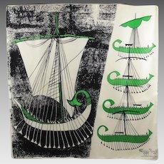 Maggy Rouff Paris Vintage Silk Scarf 1960s Modernist Galley Design