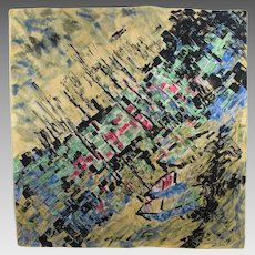 Jeanne Lanvin by Castillo Vintage Silk Scarf Abstract Print