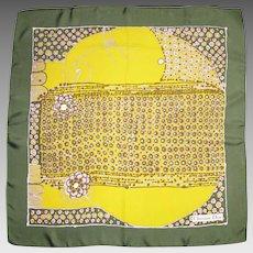 Christian Dior Vintage Silk Scarf 1970s Geometric Floral Print