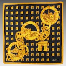 Celine Paris Vintage Silk Scarf Parisian Monuments Brand Logo Gold Black Print