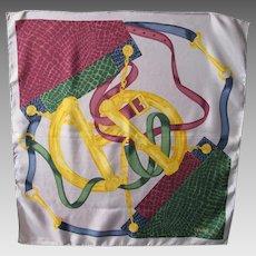 Celine Paris Vintage Silk Scarf Equestrian Print