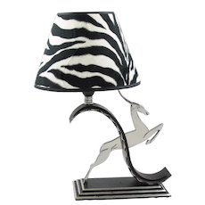 French Art Deco Jumping Antelope Wrought Iron Table Lamp by Michel Zadounaisky
