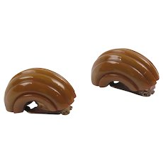 Bakelite Clip on Earrings Vintage Rare Tawny Brown Hoop Deep Carved Design - Red Tag Sale Item