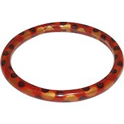 Celluloid Bracelet Bangle Rare Vintage Art Deco Cherry Blossom Red Gilt Design