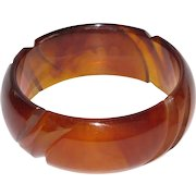 Bakelite Bracelet Bangle Rare Vintage deeply carved red amber marble