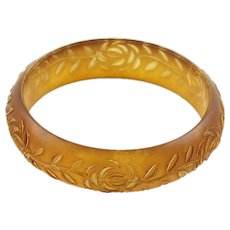 Lucite Bracelet Bangle Vintage Floral Carving Frosted Amber Color
