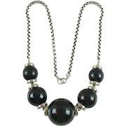 Jakob Bengel Art Deco Necklace vintage chrome black blue marble bakelite bead