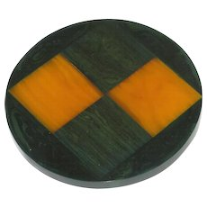 Bakelite Pin Brooch rare vintage  green yellow checkerboard carved design