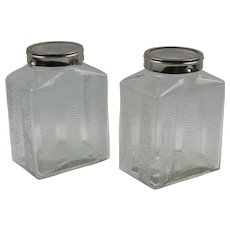 Art Deco Molded Glass and Chrome Kitchen Canister Jar Set of Two Pieces
