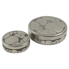 French Art Deco Dinanderie Polished Pewter Box, Rene Delavan Set of Two Pieces