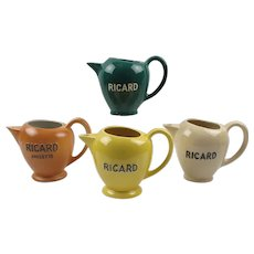French Mid-Century Cafe Barware Ricard Water Pitcher or Jug, set of 4 pieces