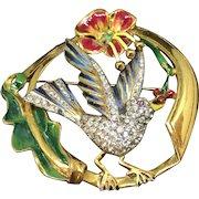 Corocraft Coro sterling enamel rhinestones bird pin brooch