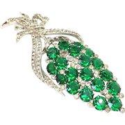 Coro script huge green rhinestones pin brooch