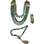 AMAZING Hattie Carnegie Egyptian set enamel Two necklaces and Bracelet