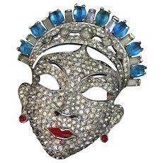 MAZER 1940 extra rare huge oriental face mask  pin brooch