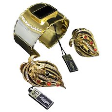 Larisse Vintage NWT old stock Cuff bracelet and clip earrings set parure