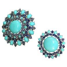 Trifari  crown faux turquoise round pin set
