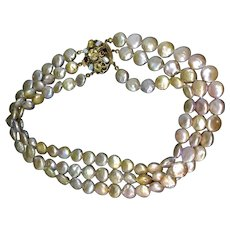 Real freshwater cultured pearls iridescent colors and silver closure with real stones and opaline