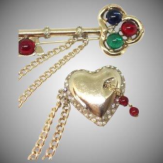 Corocraft Coro sterling pegasus chatelaine pin key heart