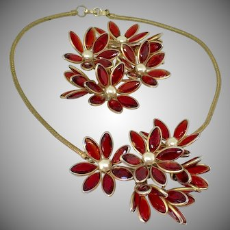 Trifari poured glass red necklace pin set parure
