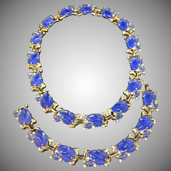 TRIFARI blue fruit salad necklace bracelet set parure