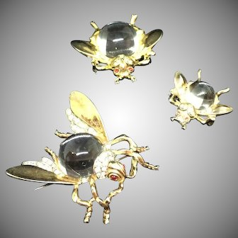 Trifari jelly belly sterling A. Philippe 1943 fly flies set pin