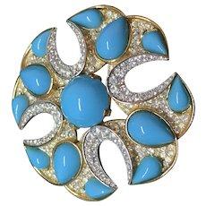 TRIFARI jewels of India turquoise Maltese Cross pin brooch