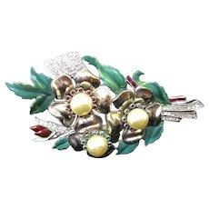 "Dujay 4"" enamel flower with faux pearls pin brooch"