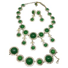 Nettie Rosenstein Goldtone and green lucite necklace bracelet drop earrings set parure