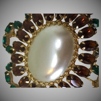 VENDOME faux pearl and crystal pin brooch