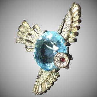 Trifari sterling aquamarine bird pin