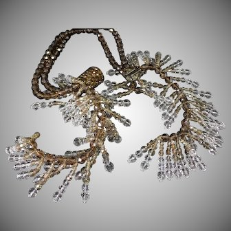 AMAZING Coppola Toppo for Dior book piece crystal brown and clear drippy necklace