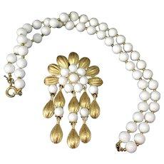 TRIFARI milkglass necklace with pin pendant