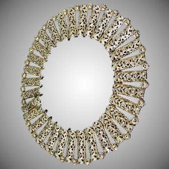 NAPIER gold plated metal open work necklace