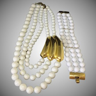 MONET white milkglass beads and goldtone closure necklace and bracelet set parure