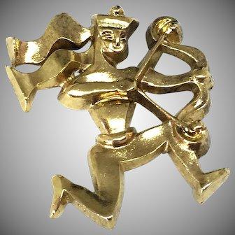 Paule Ingrand 40's Paris RARE bronze designer zodiac Sagittarius brooch pin