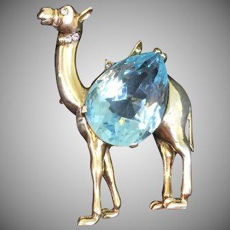 REJA sterling aquamarine stone camel pin