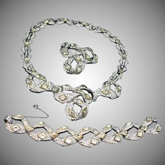TRIFARI fantastic Snake cut crystal necklace bracelet and pin parure