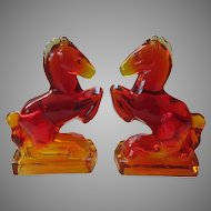 LE Smith Amberina Glass Rearing Horse Bookends