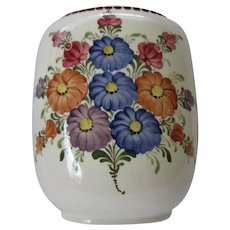 Austrian Hand Painted Flowers Oval Shaped Vase