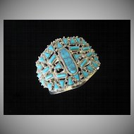 Vintage Wide and Dramatic Faux Turquoise Cuff Bracelet ~ REDUCED!