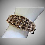 Vintage Dark Topaz Rhinestone Clamper Bracelet ~ REDUCED!