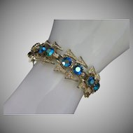 Vintage Glowing Blue Green AB Rhinestone Bracelet ~ 1/2 OFF!