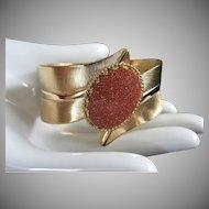 Vintage Leaf Design Goldstone Clamper Bracelet ~ REDUCED!