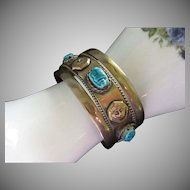 Egyptian Revival Brass Cuff Bracelet Scarab Beetles Pharaohs ~ Last Reduction!
