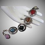Vintage Corocraft Art Glass Cabochon Bracelet