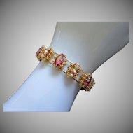 Glowing Raspberry AB Rhinestone and Faux Pearl Bracelet ~ REDUCED!!