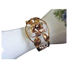 Krementz Rose and Yellow Gold Cuff Bracelet